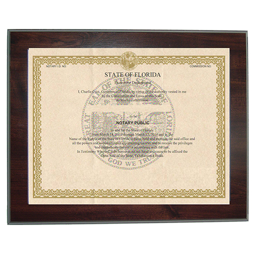 Guard your Oklahoma notary commission certificate from loss or damage with this 8-1/2 x 11 inches elegant cherry wood finish frame that makes an attractive addition to any office. Simply slide your Oklahoma notary certificate in from the side. No need for nails or screws. Designed to fit 8-1/2 x 11 inch certificates. We can also custom make a frame to fit any state's notary certificates.