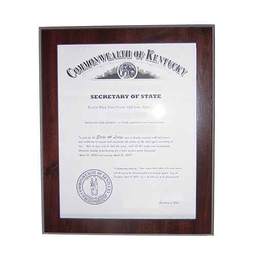 This 11 x 8-1/2 elegant cherry wood finish Oklahoma notary certificate frame makes an attractive addition to any office. Simply slide your Oklahoma notary certificate in from the side. No need for nails or screws. Designed to fit 8-1/2 x 11 inch certificates. We can also custom make a frame to fit any state's notary certificates. This Oklahoma notary certificate frame will Guard your Oklahoma notary commission certificate from damage with this elegant cherry wood finish frame that makes an attractive addition to any office.